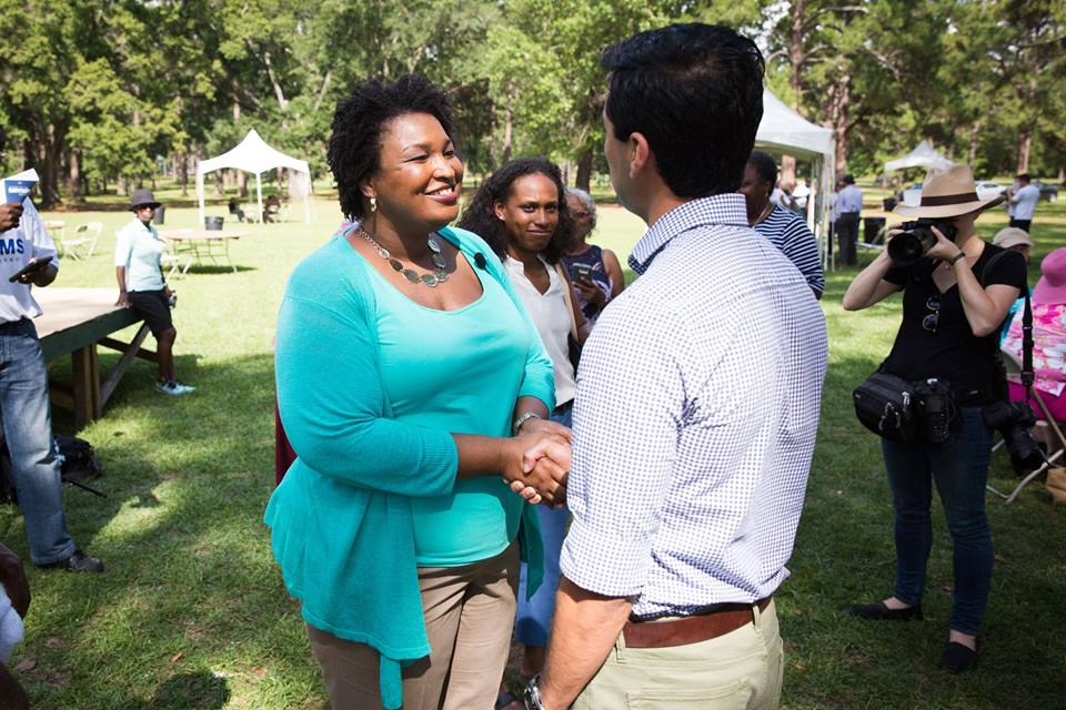 Georgia governor candidate Stacey Abrams with voters