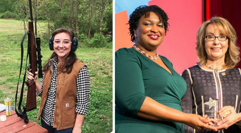 Left, Morgan Zegers, a Republican candidate for the New York State Assembly, took to the gun range last May. Right, Stacey Abrams, a Democratic gubernatorial candidate in Georgia, received the first-ever Gabrielle Giffords Rising Star Award in 2014. (Credit: Morgan Zegers' Instagram account, Emily's List)