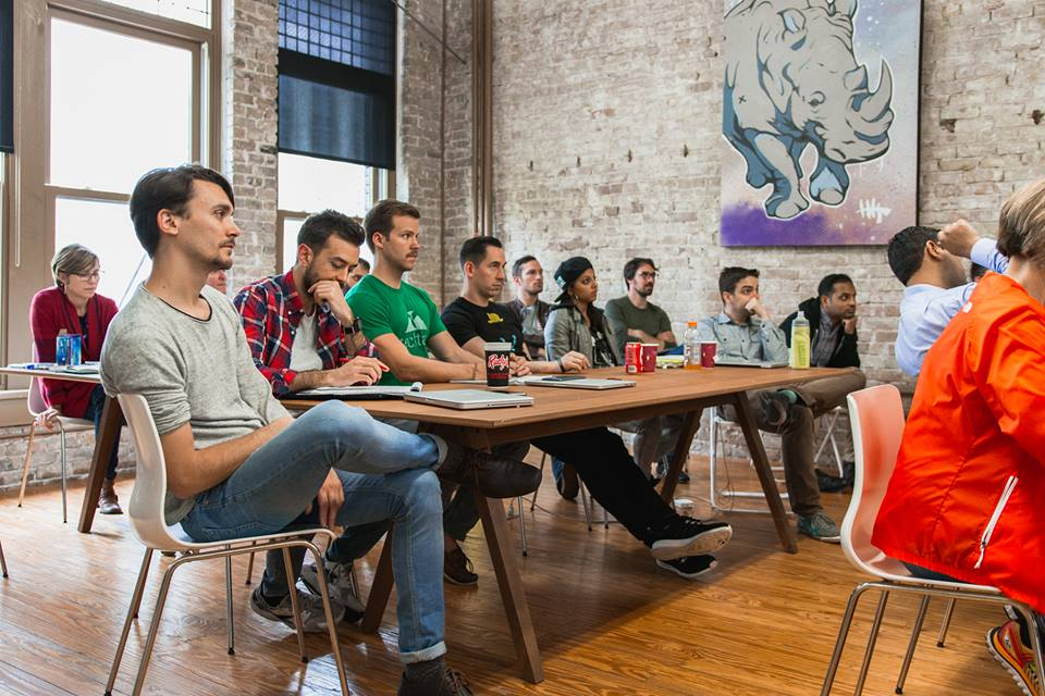 Participants of Techstars Austin, one of the business accelerator's 40 offerings, listen in on important startup lessons. (Credit: Rodney Martinez, Techstars Facebook page.)