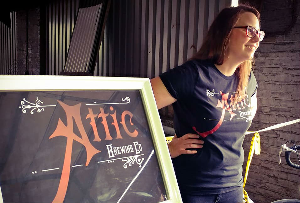 Laura Lacy, owner of craft beer maker Attic Brewing Company, is crowdfunding for the money she needs to buy brewing equipment. (Credit: Attic Brewing Company Facebook page.)
