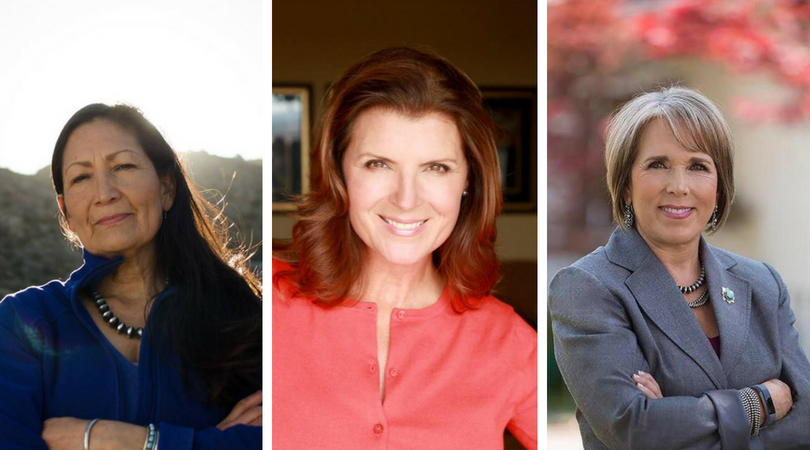 Women candidates Debra Haaland (left), Kimberlin Brown Pelzer (center) and Michelle Lujan Grisham (right) prevailed in their June 5 primaries. (Image Credits: Campaign Facebook pages)