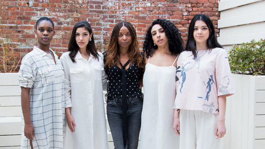 Priscilla Debar of climate change startup Faubourg, with models wearing her online boutique's eco-conscious fashions. (Credit: Maggie Marguerite Studio, Faubourg)
