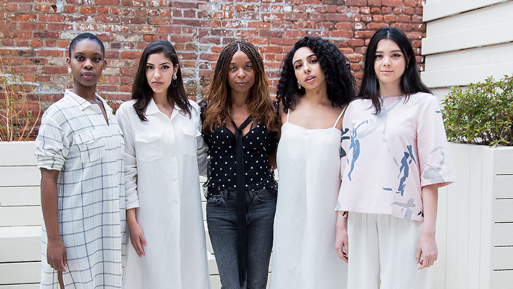 Priscilla Debar of Faubourg with models wearing her online boutique's eco-conscious fashions. (Credit: Maggie Marguerite Studio, Faubourg)