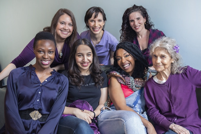 The women of The Muse Project. (Clockwise, l-r): Actors Vanessa Aspillaga, Jocelyn Kuritsky, Kyra Miller, Lynn Cohen, Jessica Frances Dukes, Déa Julien and Zainab Musa at Torn Page. (Credit: Adenike Thomas)