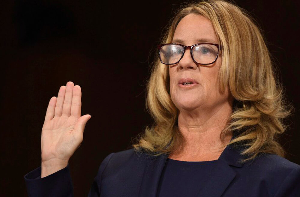 Dr. Christine Blasey Ford at the Sept. 27 Senate hearings (Photo Credit: Ninian Reid, via Flickr CC BY 2.0)