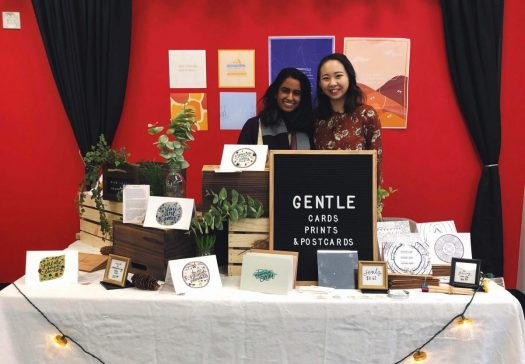 April Chen (right) and a team member at her pop-up in Boston.
