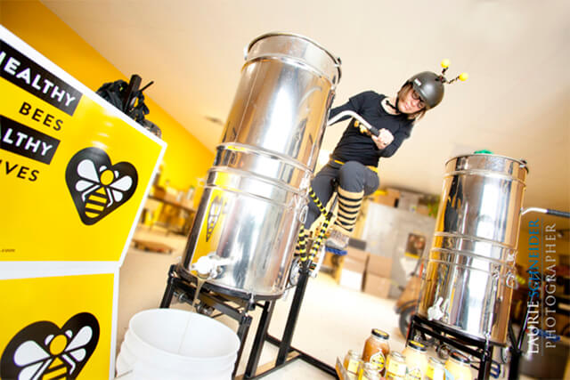 Kristy Allen of The Beez Kneez on her invention, the Honey Cycle. (Credit: The Beez Kneez)