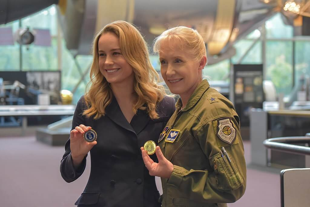 "When preparing for ""Captain Marvel,"" actress Brie Larson (left) met with Brig. Gen. Jeannie Leavitt, the Air Force's first female fighter pilot, to research her character. The movie went on to smash its box office competition opening weekend, in a win for women in film. (Credit: Wikimedia Commons)"