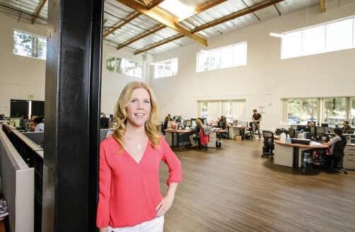 Author Deborah Sweeney of MyCorporation inside her Calabasas, California, office. (Credit: Courtesy of the company)