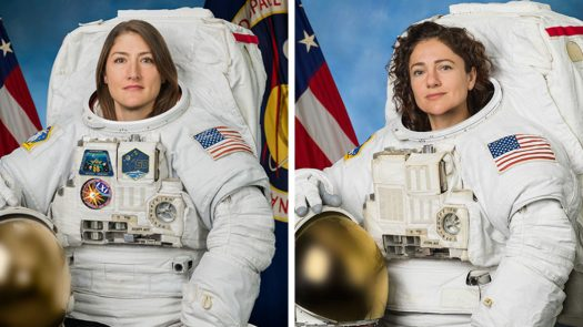 """Astronauts Christina Koch and Jessica Meir are """"suiting up"""" for a historical event (Credit: NASA)"""