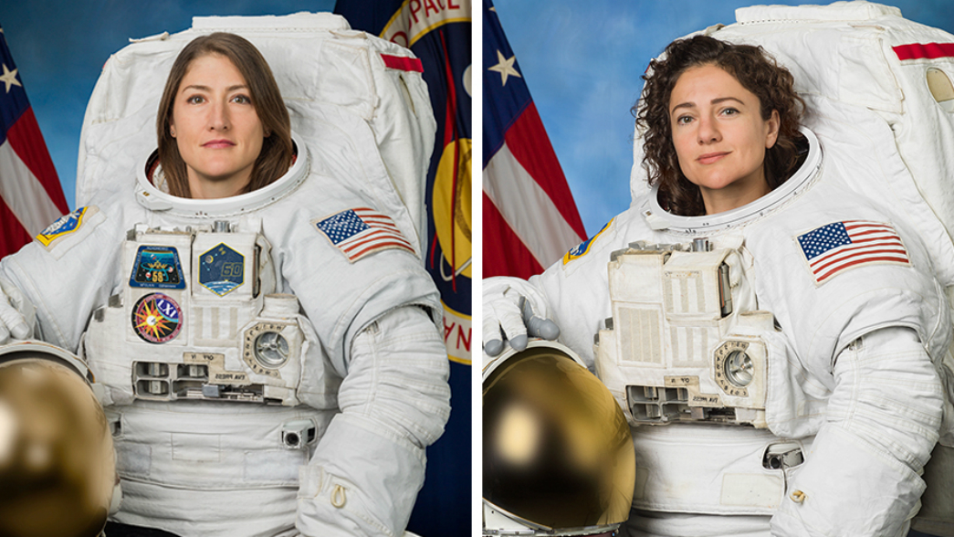 "Astronauts Christina Koch and Jessica Meir are ""suiting up"" for a historical event (Credit: NASA)"