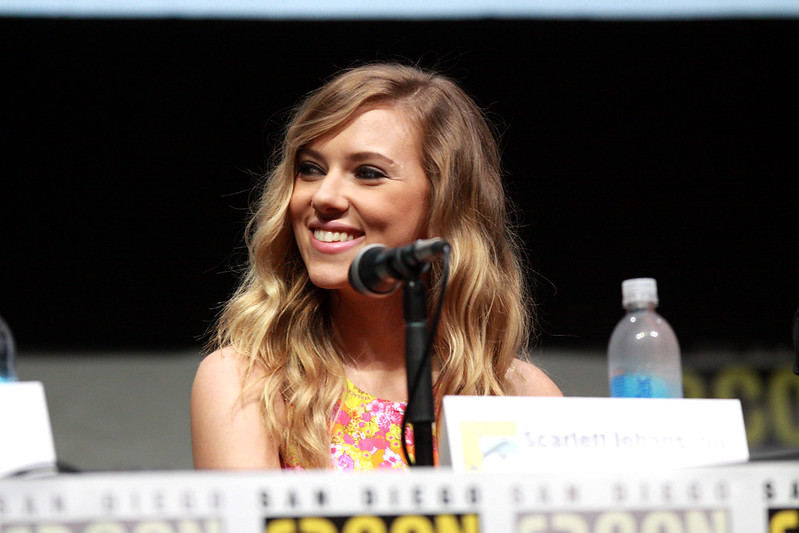 Scarlett Johansson at Comic Con talking about Captain America: Winter Soldier. (Credit: Flickr, Gage Skidmore)