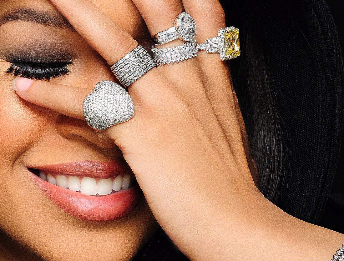 Kali Hawk, the founder of California jewelry line H.Crowne, is known for her signature pieces - crowns featuring large jewels and ornate metallic configurations, each one taller than the next. (Credit: H. Crowne)