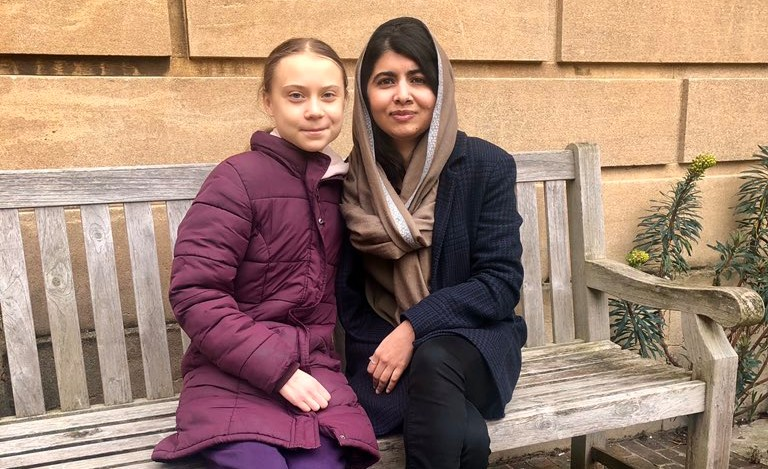 Great things can happen when brilliant minds come together - which is why we loved this meet-up between activists Greta Thunberg and Malala Yousafzai. (Credit: Malala Yousafzai's Twitter account)
