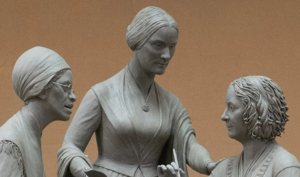 Suffragists Sojourner Truth, Susan B. Anthony, And Elizabeth Cady Stanton will be immortalized with a monument in New York City's Central Park. It was commissioned by nonprofit Monumental Women to mark the 100th anniversary of the 19th amendment. (Credit: Monumental Women)
