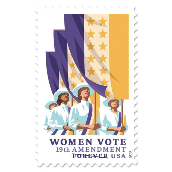 The new USPS stamp commemorates the 19th Amendment. (USPS)