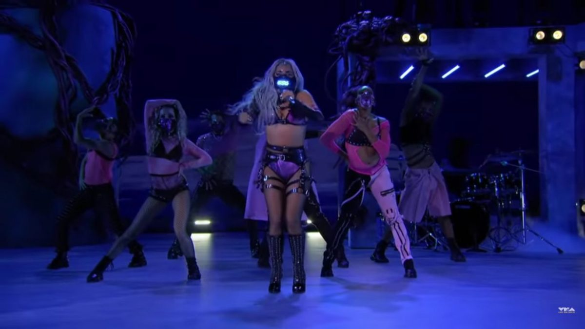Performer and entrepreneur Lady Gaga encouraged everyone watching the 2020 MTV Video Music Awards to keep wearing masks. (Credit: YouTube)