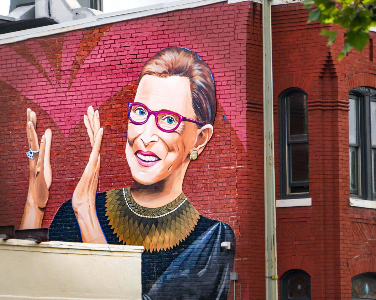 A mural of Ruth Bader Ginsburg mural in Washington, D.C. (Photo credit: Ted Eytan, Creative Commons)