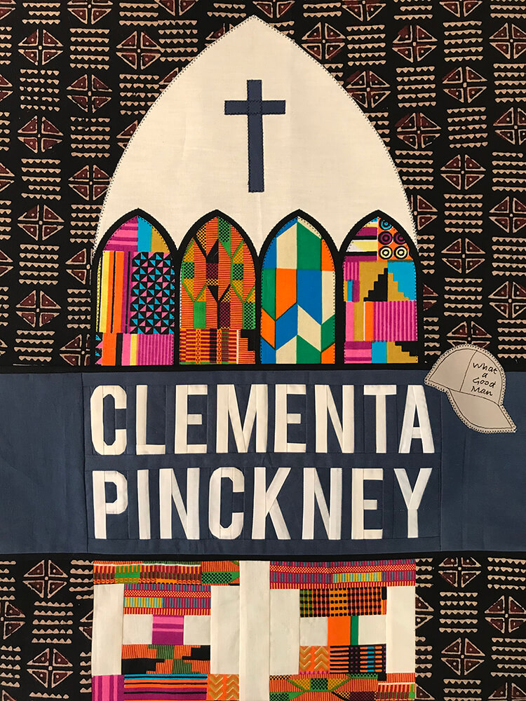 This block by Kathy Morganroth honors the life of Clementa Pinckney, senior pastor at Mother Emanuel A.M.E. in Charleston, South Carolina. He was killed along with nine others in the church by a white supremacist.