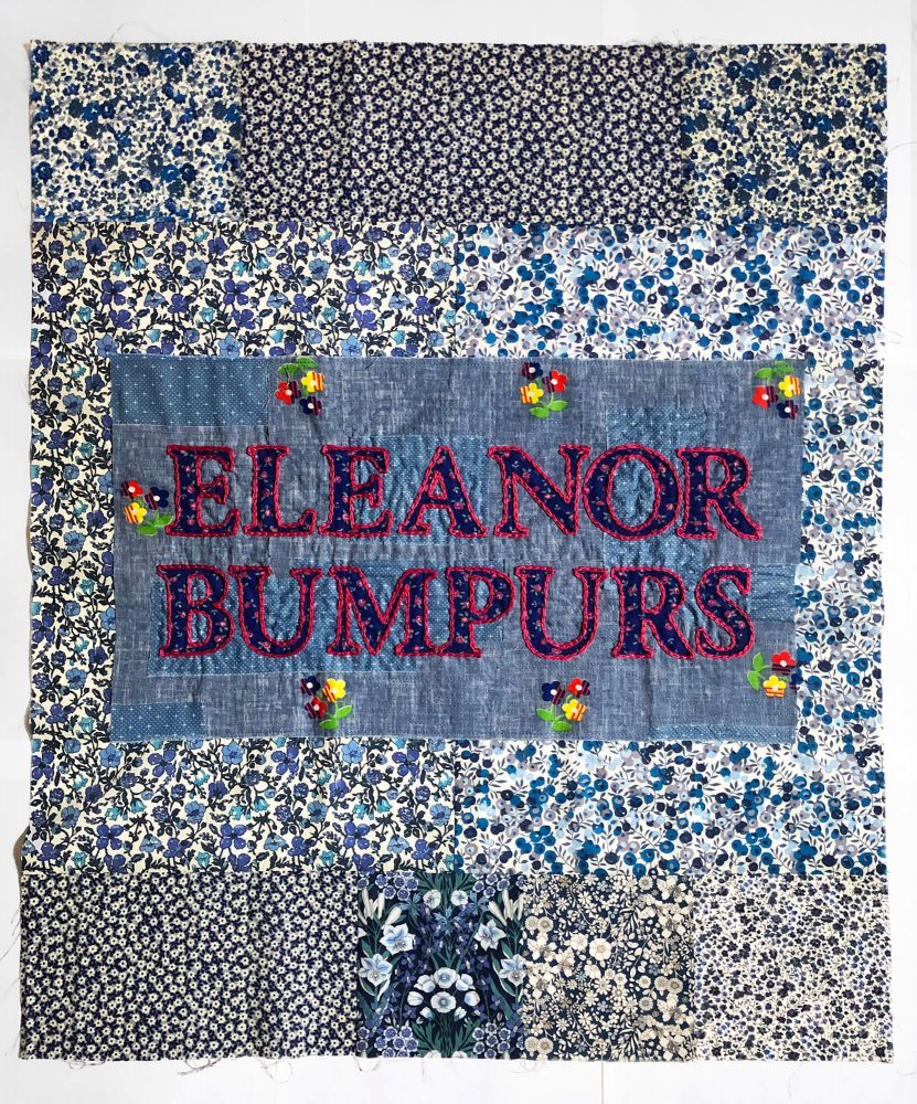 This quilt block honors Eleanor Bumpurs, who was shot by police in 1984. It was recently created by Madeline Pesavento of Brooklyn, New York.