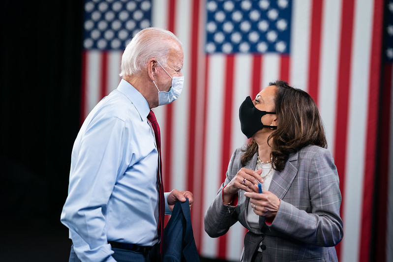 Joe Biden and Kamala Harris at the State of the Economy Briefing in August 2020. (Photo by Adam Schultz / Biden for President)