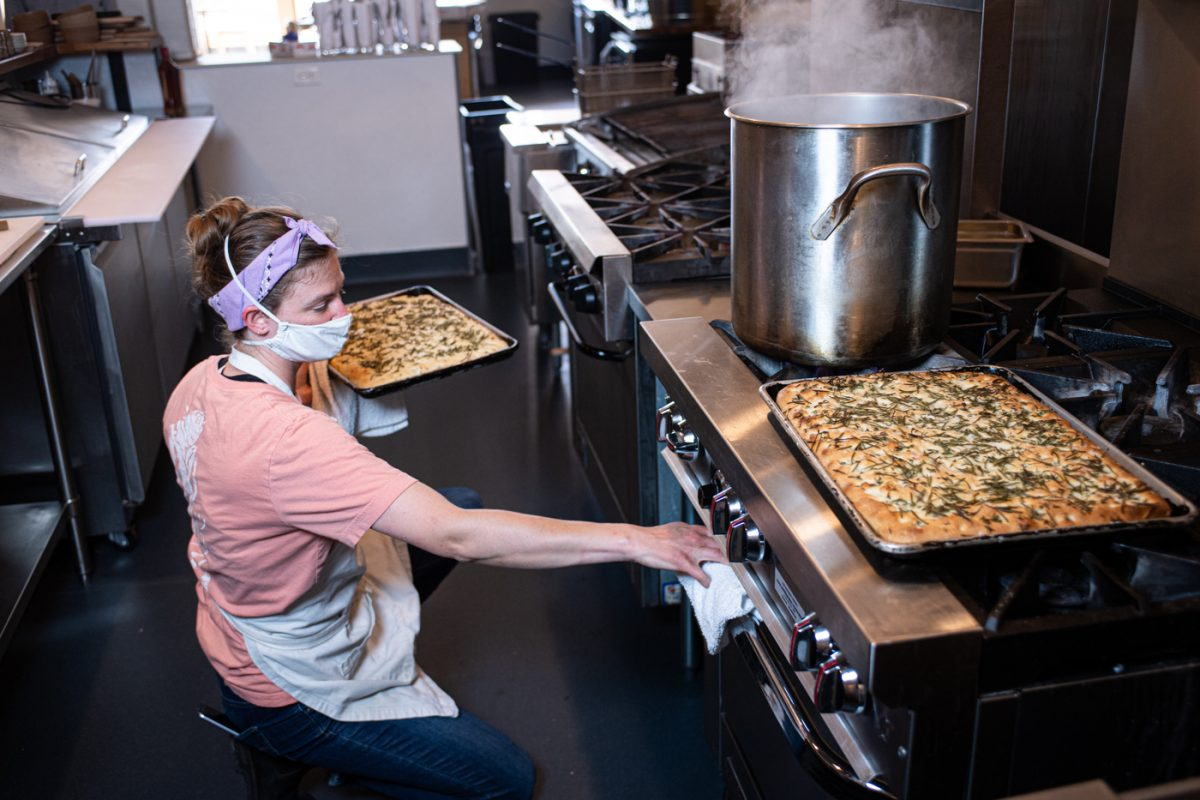 Meal prep is underway at Leeward, a pasta shop in Portland, Maine, thanks to Cooking for Community. (Credit: Winky Lewis)